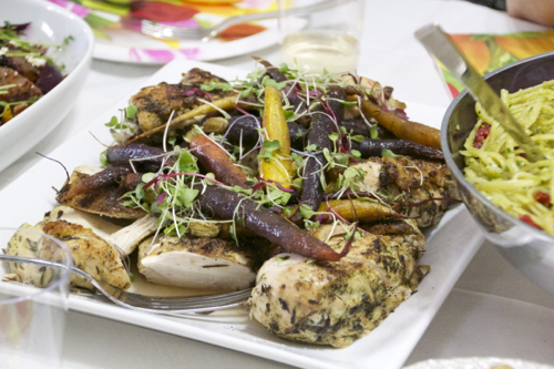 Roasted Herb Chicken Breasts & Roast Heirloom Baby Carrots