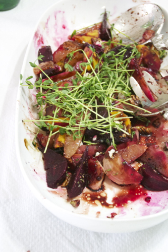 Farmer's Market Heirloom Beet & Citrus Salad with Pea Shoots & Boursin Cheese topped with Balsamic Glaze